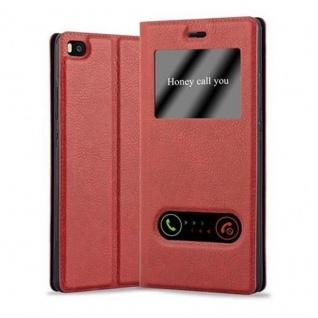 Cadorabo Hülle für Huawei P8 in SAFRAN ROT - Handyhülle mit Magnetverschluss, Standfunktion und 2 Sichtfenstern - Case Cover Schutzhülle Etui Tasche Book Klapp Style