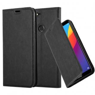 Cadorabo Hülle für Honor 7C in NACHT SCHWARZ - Handyhülle mit Magnetverschluss, Standfunktion und Kartenfach - Case Cover Schutzhülle Etui Tasche Book Klapp Style