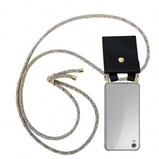 Cadorabo Handy Kette für Sony Xperia X in RAINBOW - Silikon Necklace Umhänge Hülle mit Gold Ringen, Kordel Band Schnur und abnehmbarem Etui ? Schutzhülle
