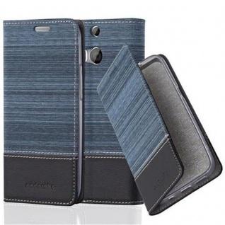 Cadorabo Hülle für HTC ONE M8 (2. Gen.) - Hülle in DUNKEL BLAU SCHWARZ ? Handyhülle mit Standfunktion und Kartenfach im Stoff Design - Case Cover Schutzhülle Etui Tasche Book