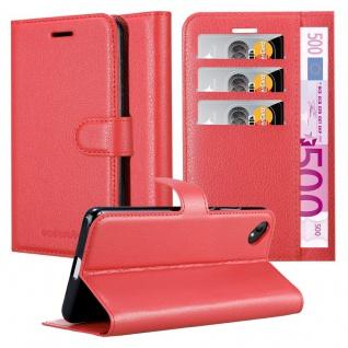 Cadorabo Hülle für WIKO SUNNY 2 PLUS in KARMIN ROT - Handyhülle mit Magnetverschluss, Standfunktion und Kartenfach - Case Cover Schutzhülle Etui Tasche Book Klapp Style