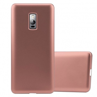Cadorabo Hülle für OnePlus 2 in METALLIC ROSÉ GOLD - Handyhülle aus flexiblem TPU Silikon - Silikonhülle Schutzhülle Ultra Slim Soft Back Cover Case Bumper