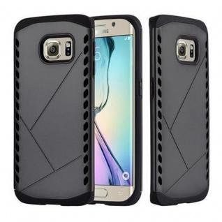 Cadorabo Hülle für Samsung Galaxy S6 EDGE - Hülle in GUARDIAN SCHWARZ ? Hard Case TPU Silikon Schutzhülle für Hybrid Cover im Outdoor Heavy Duty Design
