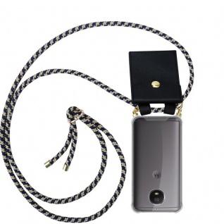 Cadorabo Handy Kette für Motorola MOTO G5S in DUNKELBLAU GELB - Silikon Necklace Umhänge Hülle mit Gold Ringen, Kordel Band Schnur und abnehmbarem Etui ? Schutzhülle