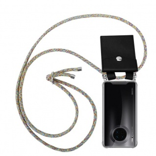 Cadorabo Handy Kette für Huawei MATE 30 in RAINBOW - Silikon Necklace Umhänge Hülle mit Silber Ringen, Kordel Band Schnur und abnehmbarem Etui - Schutzhülle
