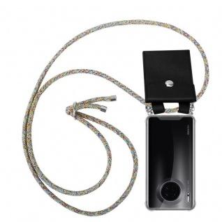 Cadorabo Handy Kette für Huawei MATE 30 in RAINBOW Silikon Necklace Umhänge Hülle mit Silber Ringen, Kordel Band Schnur und abnehmbarem Etui Schutzhülle