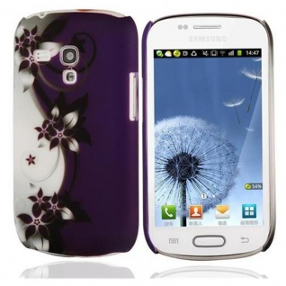 Cadorabo - Hard Cover für Samsung Galaxy S3 MINI - Case Cover Schutzhülle Bumper im Design: LILA VEILCHEN