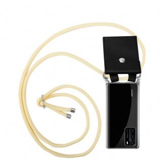 Cadorabo Handy Kette für Huawei P40 in CREME BEIGE Silikon Necklace Umhänge Hülle mit Silber Ringen, Kordel Band Schnur und abnehmbarem Etui Schutzhülle