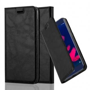 Cadorabo Hülle für Honor 6C PRO in NACHT SCHWARZ - Handyhülle mit Magnetverschluss, Standfunktion und Kartenfach - Case Cover Schutzhülle Etui Tasche Book Klapp Style