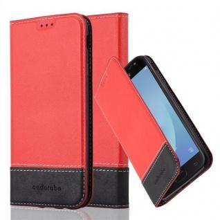 Cadorabo Hülle für Samsung Galaxy J3 2017 in ROT SCHWARZ ? Handyhülle mit Magnetverschluss, Standfunktion und Kartenfach ? Case Cover Schutzhülle Etui Tasche Book Klapp Style - Vorschau 1