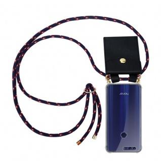 Cadorabo Handy Kette für Honor 8 / Honor 8 Premium in BLAU ROT WEISS GEPUNKTET Silikon Necklace Umhänge Hülle mit Gold Ringen, Kordel Band Schnur und abnehmbarem Etui Schutzhülle