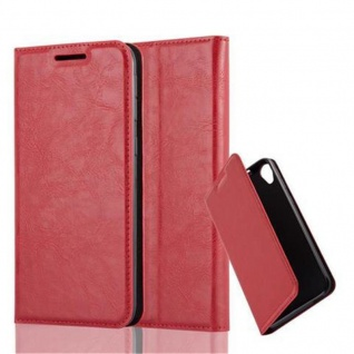 Cadorabo Hülle für HTC DESIRE 820 in APFEL ROT Handyhülle mit Magnetverschluss, Standfunktion und Kartenfach Case Cover Schutzhülle Etui Tasche Book Klapp Style