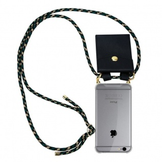 Cadorabo Handy Kette für Apple iPhone 6 PLUS / iPhone 6S PLUS in CAMOUFLAGE ? Silikon Necklace Umhänge Hülle mit Gold Ringen, Kordel Band Schnur und abnehmbarem Etui ? Schutzhülle