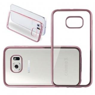 Cadorabo Hülle für Samsung Galaxy S6 EDGE - Hülle in TRANSPARENT mit CHROM ROSEGOLD - Handyhülle aus TPU Silikon im Chrom Design - Silikonhülle Schutzhülle Ultra Slim Soft Back Cover Case Bumper