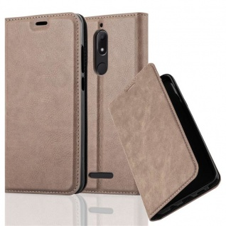 Cadorabo Hülle für WIKO VIEW in KAFFEE BRAUN Handyhülle mit Magnetverschluss, Standfunktion und Kartenfach Case Cover Schutzhülle Etui Tasche Book Klapp Style