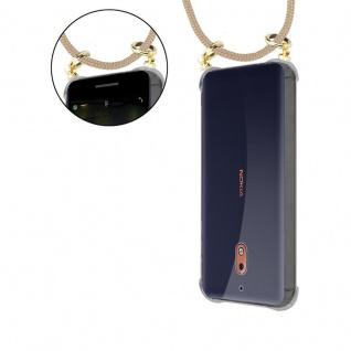 Cadorabo Handy Kette für Nokia 2.1 2018 in GLÄNZEND BRAUN - Silikon Necklace Umhänge Hülle mit Gold Ringen, Kordel Band Schnur und abnehmbarem Etui ? Schutzhülle - Vorschau 5