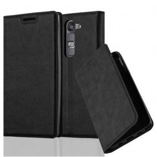 Cadorabo Hülle für LG G4C in NACHT SCHWARZ - Handyhülle mit Magnetverschluss, Standfunktion und Kartenfach - Case Cover Schutzhülle Etui Tasche Book Klapp Style