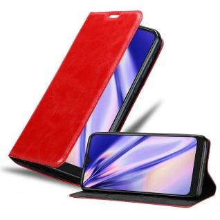 Cadorabo Hülle für Alcatel 1s 2020 in APFEL ROT Handyhülle mit Magnetverschluss, Standfunktion und Kartenfach Case Cover Schutzhülle Etui Tasche Book Klapp Style