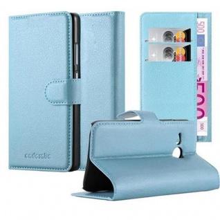 Cadorabo Hülle für HTC ONE M8 MINI in PASTEL BLAU - Handyhülle mit Magnetverschluss, Standfunktion und Kartenfach - Case Cover Schutzhülle Etui Tasche Book Klapp Style