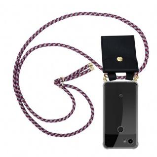 Cadorabo Handy Kette für Google Pixel 3a XL in ROT WEISS - Silikon Necklace Umhänge Hülle mit Gold Ringen, Kordel Band Schnur und abnehmbarem Etui ? Schutzhülle