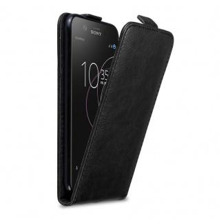 Cadorabo Hülle für Sony Xperia XZ1 COMPACT in NACHT SCHWARZ - Handyhülle im Flip Design mit Magnetverschluss - Case Cover Schutzhülle Etui Tasche Book Klapp Style
