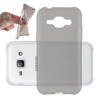 Cadorabo Hülle für Samsung Galaxy J1 2015 in TRANSPARENT SCHWARZ - Handyhülle aus flexiblem TPU Silikon - Silikonhülle Schutzhülle Ultra Slim Soft Back Cover Case Bumper