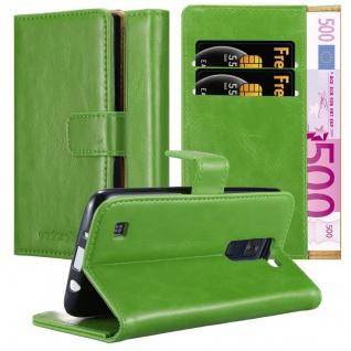 Cadorabo Hülle für LG K8 2016 in GRAS GRÜN Handyhülle mit Magnetverschluss, Standfunktion und Kartenfach Case Cover Schutzhülle Etui Tasche Book Klapp Style