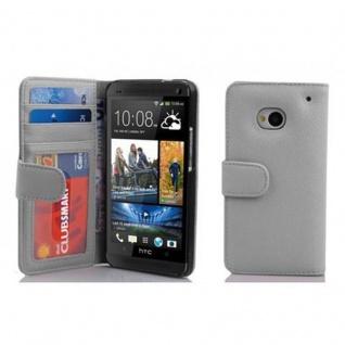 Cadorabo Hülle für HTC ONE M7 (1. Gen.) in MAGNESIUM WEIß ? Handyhülle mit Magnetverschluss und 3 Kartenfächern ? Case Cover Schutzhülle Etui Tasche Book Klapp Style