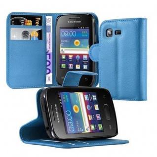 Cadorabo Hülle für Samsung Galaxy POCKET 2 in PASTEL BLAU - Handyhülle mit Magnetverschluss, Standfunktion und Kartenfach - Case Cover Schutzhülle Etui Tasche Book Klapp Style