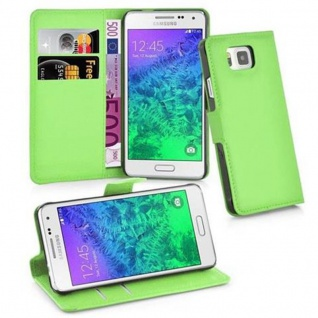 Cadorabo Hülle für Samsung Galaxy ALPHA in MINZ GRÜN - Handyhülle mit Magnetverschluss, Standfunktion und Kartenfach - Case Cover Schutzhülle Etui Tasche Book Klapp Style