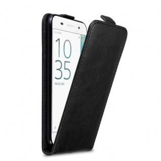 Cadorabo Hülle für Sony Xperia E5 in NACHT SCHWARZ Handyhülle im Flip Design mit Magnetverschluss Case Cover Schutzhülle Etui Tasche Book Klapp Style