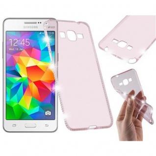 Cadorabo Hülle für Samsung Galaxy GRAND PRIME - Hülle in TRANSPARENT ROSA ? Handyhülle aus TPU Silikon im Strass Design - Silikonhülle Schutzhülle Ultra Slim Soft Back Cover Case Bumper