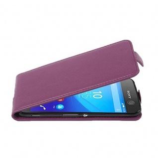 Cadorabo Hülle für Sony Xperia M5 in BORDEAUX LILA - Handyhülle im Flip Design aus strukturiertem Kunstleder - Case Cover Schutzhülle Etui Tasche Book Klapp Style - Vorschau 1