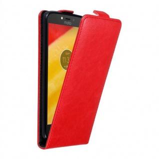 Cadorabo Hülle für Motorola MOTO C PLUS in APFEL ROT - Handyhülle im Flip Design mit unsichtbarem Magnetverschluss - Case Cover Schutzhülle Etui Tasche Book Klapp Style