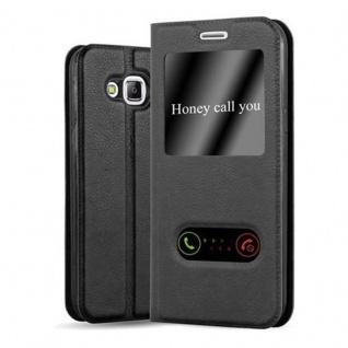 Cadorabo Hülle für Samsung Galaxy J5 2015 in KOMETEN SCHWARZ - Handyhülle mit Magnetverschluss, Standfunktion und 2 Sichtfenstern - Case Cover Schutzhülle Etui Tasche Book Klapp Style