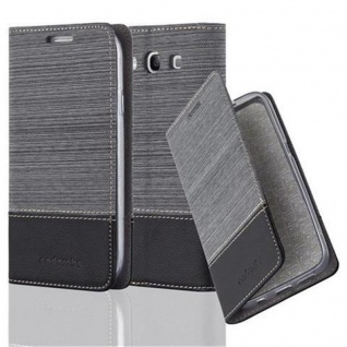 Cadorabo Hülle für Samsung Galaxy S3 / S3 NEO in GRAU SCHWARZ - Handyhülle mit Magnetverschluss, Standfunktion und Kartenfach - Case Cover Schutzhülle Etui Tasche Book Klapp Style