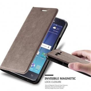 Cadorabo Hülle für Samsung Galaxy J5 2015 in KAFFEE BRAUN - Handyhülle mit Magnetverschluss, Standfunktion und Kartenfach - Case Cover Schutzhülle Etui Tasche Book Klapp Style