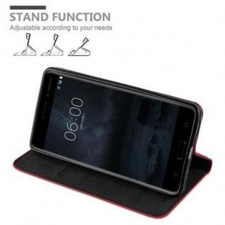 Cadorabo Hülle für Nokia 6 2017 in APFEL ROT Handyhülle mit Magnetverschluss, Standfunktion und Kartenfach Case Cover Schutzhülle Etui Tasche Book Klapp Style - Vorschau 4