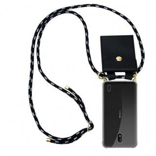 Cadorabo Handy Kette für Nokia 1 PLUS in SCHWARZ SILBER Silikon Necklace Umhänge Hülle mit Gold Ringen, Kordel Band Schnur und abnehmbarem Etui Schutzhülle