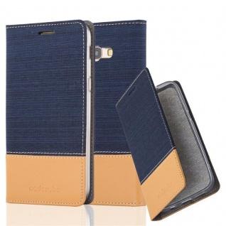 Cadorabo Hülle für Samsung Galaxy A3 2017 in DUNKEL BLAU BRAUN - Handyhülle mit Magnetverschluss, Standfunktion und Kartenfach - Case Cover Schutzhülle Etui Tasche Book Klapp Style