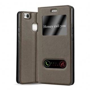 Cadorabo Hülle für Huawei P9 LITE in STEIN BRAUN ? Handyhülle mit Magnetverschluss, Standfunktion und 2 Sichtfenstern ? Case Cover Schutzhülle Etui Tasche Book Klapp Style