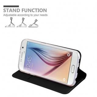 Cadorabo Hülle für Samsung Galaxy S6 in CLASSY SCHWARZ - Handyhülle mit Magnetverschluss, Standfunktion und Kartenfach - Case Cover Schutzhülle Etui Tasche Book Klapp Style - Vorschau 4