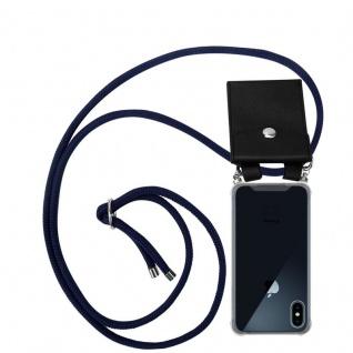 Cadorabo Handy Kette für Apple iPhone X / XS in TIEF BLAU Silikon Necklace Umhänge Hülle mit Silber Ringen, Kordel Band Schnur und abnehmbarem Etui Schutzhülle