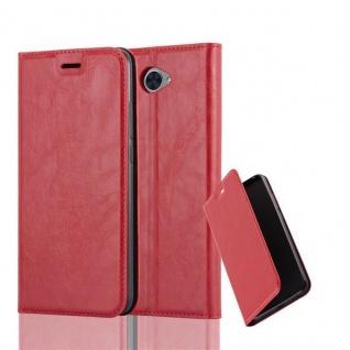 Cadorabo Hülle für Huawei Y7 2017 in APFEL ROT - Handyhülle mit Magnetverschluss, Standfunktion und Kartenfach - Case Cover Schutzhülle Etui Tasche Book Klapp Style