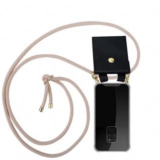 Cadorabo Handy Kette für Huawei MATE 20 in PERLIG ROSÉGOLD - Silikon Necklace Umhänge Hülle mit Gold Ringen, Kordel Band Schnur und abnehmbarem Etui ? Schutzhülle