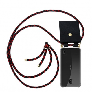 Cadorabo Handy Kette für Nokia 1 PLUS in SCHWARZ ROT - Silikon Necklace Umhänge Hülle mit Gold Ringen, Kordel Band Schnur und abnehmbarem Etui ? Schutzhülle