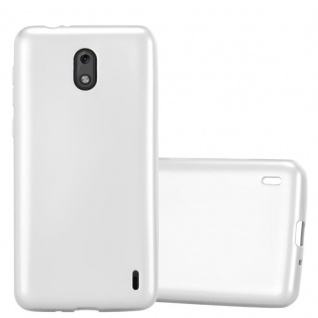 Cadorabo Hülle für Nokia 2 2017 in METALLIC SILBER - Handyhülle aus flexiblem TPU Silikon - Silikonhülle Schutzhülle Ultra Slim Soft Back Cover Case Bumper
