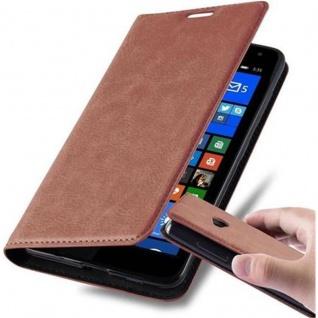 Cadorabo Hülle für Nokia Lumia 535 in CAPPUCCINO BRAUN - Handyhülle mit Magnetverschluss, Standfunktion und Kartenfach - Case Cover Schutzhülle Etui Tasche Book Klapp Style