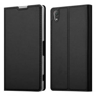 Cadorabo Hülle für Sony Xperia Z2 in CLASSY SCHWARZ - Handyhülle mit Magnetverschluss, Standfunktion und Kartenfach - Case Cover Schutzhülle Etui Tasche Book Klapp Style