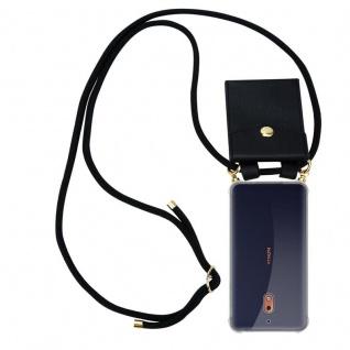 Cadorabo Handy Kette für Nokia 2.1 2018 in SCHWARZ Silikon Necklace Umhänge Hülle mit Gold Ringen, Kordel Band Schnur und abnehmbarem Etui Schutzhülle